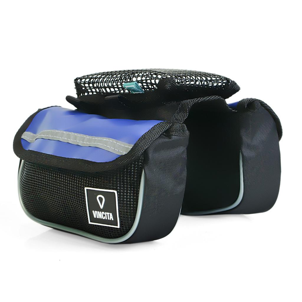 vincita กระเป๋าเบนโตะคู่เหลี่ยมมีซองใส่มือถือคาดเฟรมและสเต็มสีน้ำเงิน