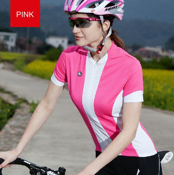 เสื้อปั่นจักรยานแขนสั้นผู้หญิง SOUKE ชมพู : D2104