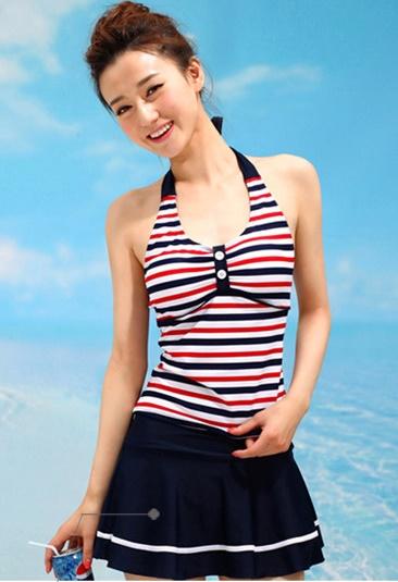 ชุดว่ายน้ำ Sporty Girl D01 Navy