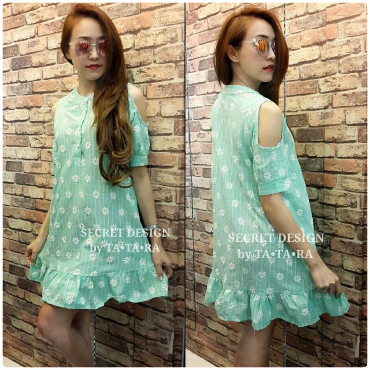 """รหัส TTR69 **พร้อมส่ง** รอบอก38"""" Korean Style Dress ลายดอกเดซี่ สีเขียว"""