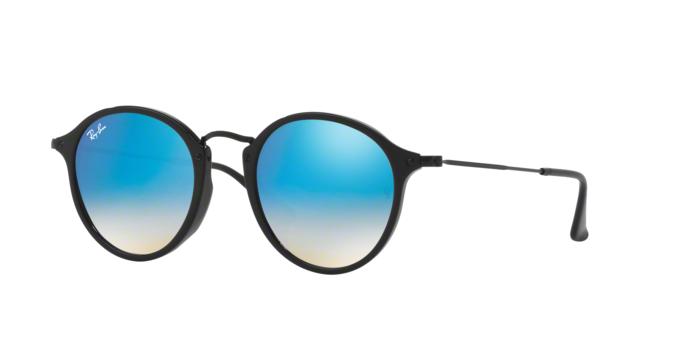 Ray Ban RB2447F 901/4O SHINY BLACK Mirror Gradient Blue