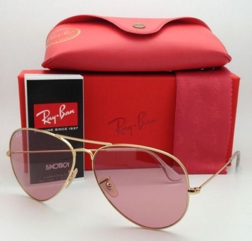 Ray Ban Aviator RB3025 001/4B Pink Lens Gold Frame 58mm
