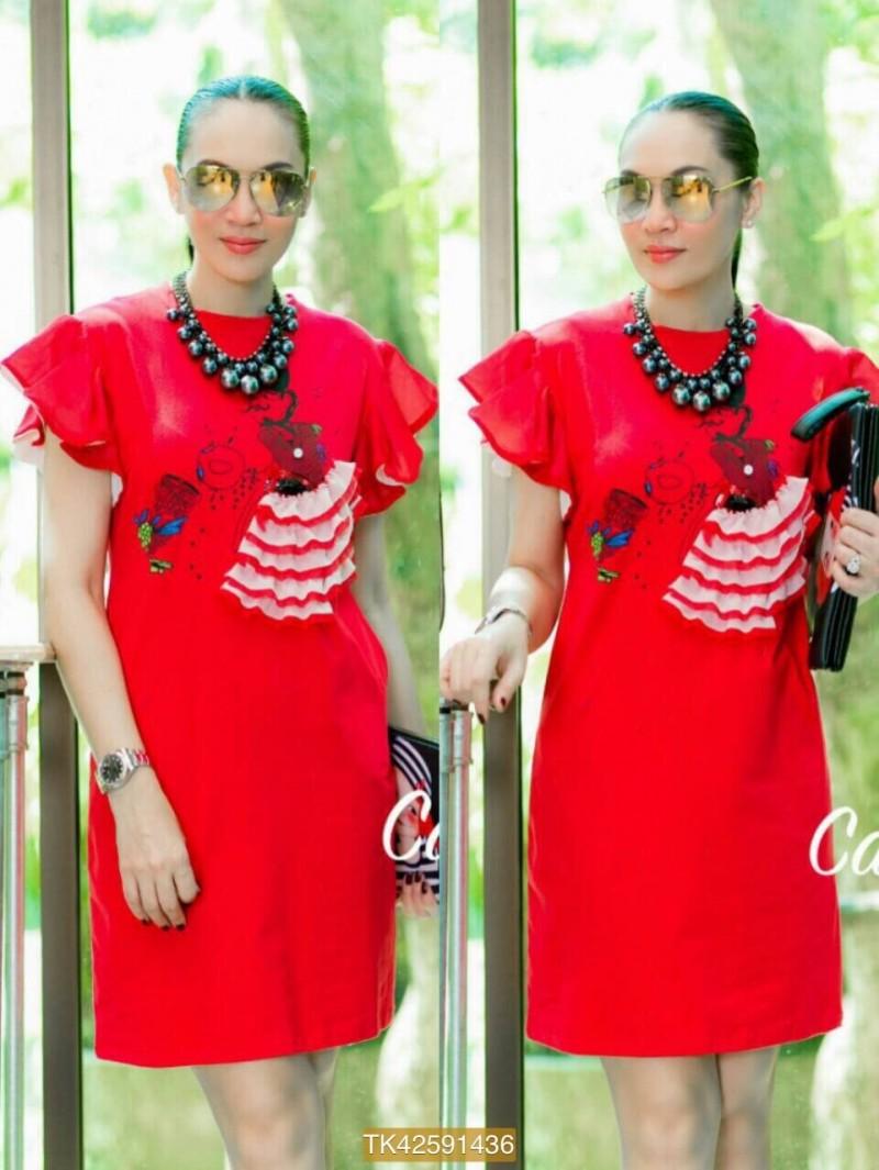 "TK1436**สีแดง**รอบอก40"" Dress Topshop cotton Korea Multi-layer skirt sewn turnovers"