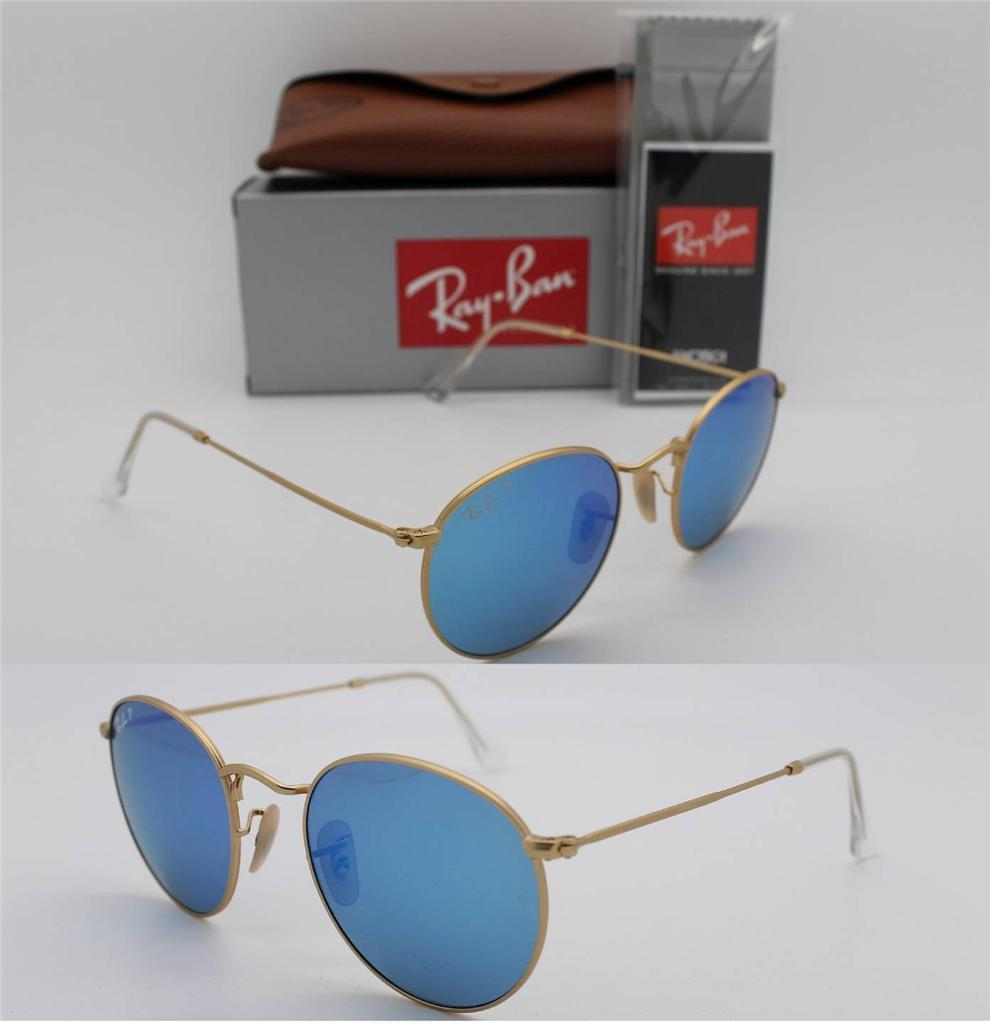 Ray Ban Round Flash RB3447 112/4L ฺBlue mirror Polarized
