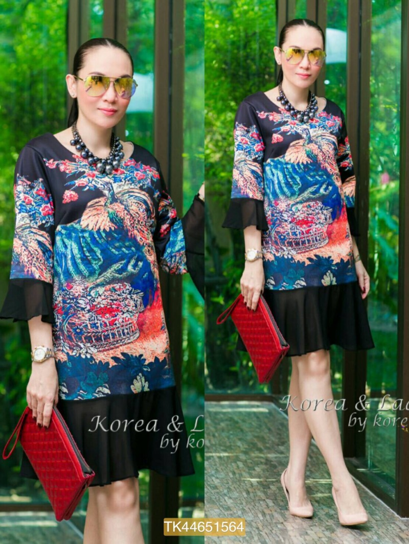 "TK1564""สีดำ""**รอบอก 44"" New Anna Sui 2016 Dress quality chiffon and poly Oversize"