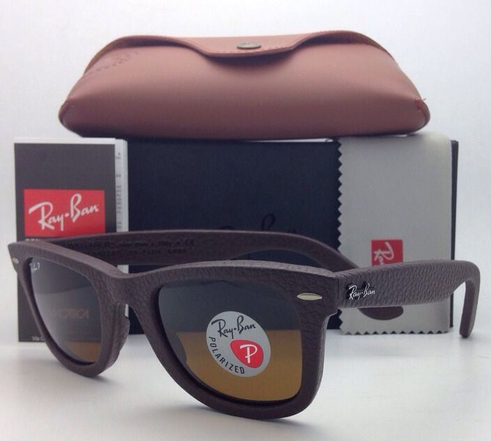 Ray Ban RB2140QM 1153/N6 Brown Leather Polarized Neophan Brown