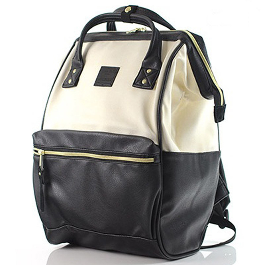 กระเป๋าเป้ Anello Leather Ivory black (Standard) หนัง PU กันน้ำ
