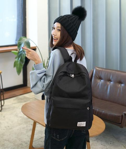 Solid shoulder female bag (สีดำ)