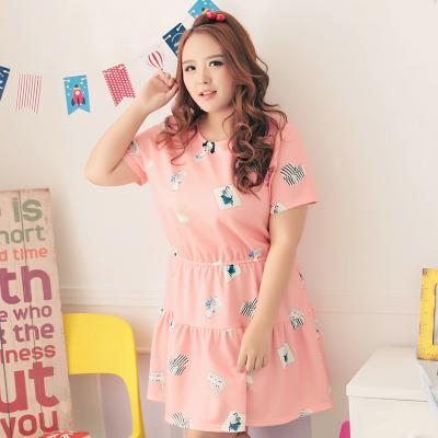 [พรีออเดอร์] เดรสแฟชั่นเกาหลีใหม่ แขนสั้น สำหรับผู้หญิงไซส์ใหญ่ - [Preorder] New Korean Fashion Short-Sleeved Dress for Large Size Woman