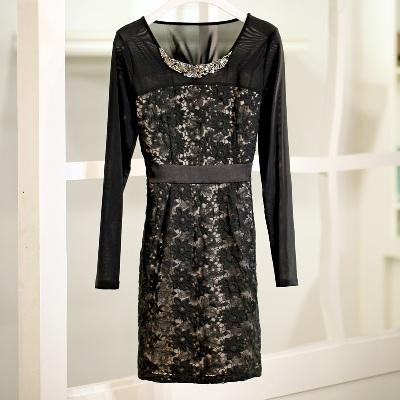 [พรีออเดอร์] ชุดเดรสผู้หญิงแฟชั่นเกาหลีใหม่สีดำลูกไม้ ปักลูกปัด แขนยาว แบบเก๋ เท่ห์ - [Preorder] New Korean Fashion Beaded Chiffon Round Neck Lace Long-sleeved Black Dress