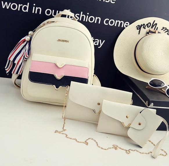 Cute Korea PU set 4 ใบ (สีขาว)