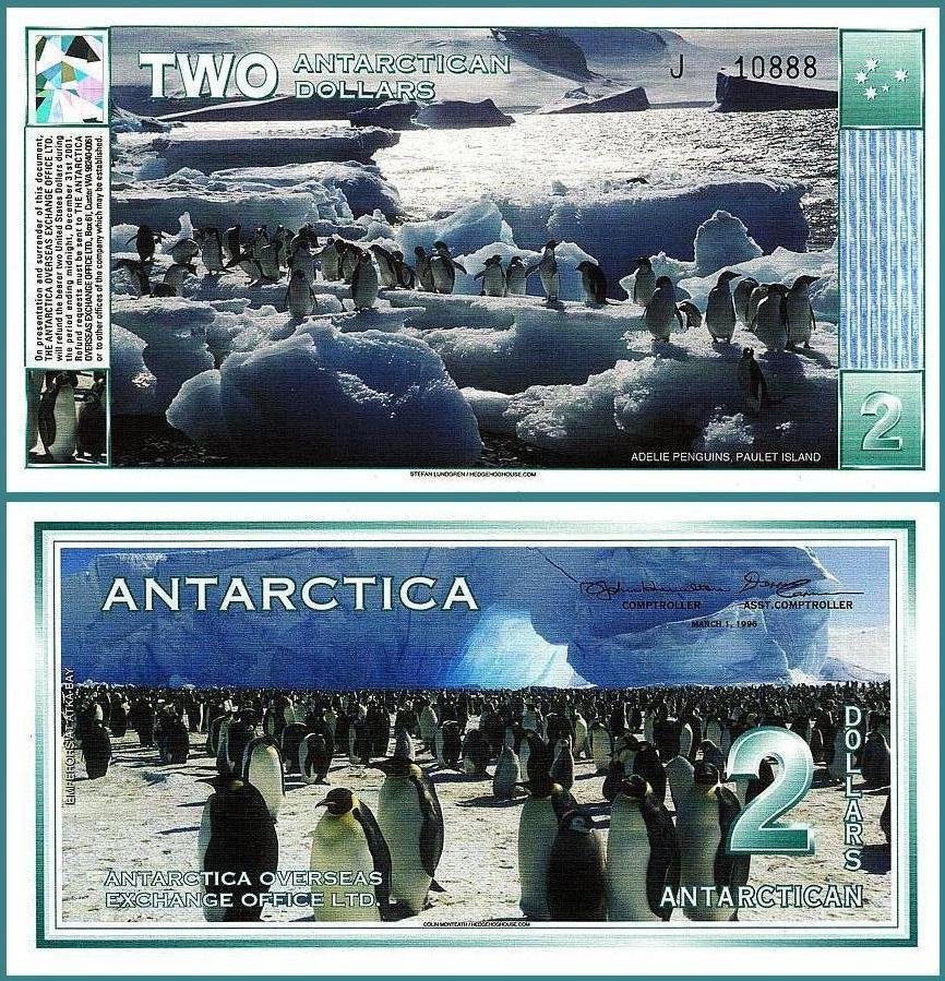 ธนบัตร แอนตาร์กติกา ANTARCTICA 2 DOLLARS 1996 (2009) UNCIRCULATED PENGUIN NEW