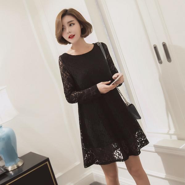 [พรีออเดอร์] เสื้้อเดรสลูกไม้ทั้งตัวแฟชั่นเกาหลีใหม่ สำหรับผู้หญิงไซส์ใหญ่ - [Preorder] New Korean Fashion Lace Dress for Large Size Woman