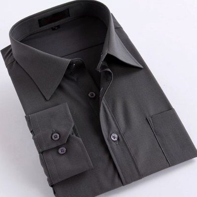พรีออเดอร์ เสื้อเชิ้ตทำงานแขนยาว สีดำ อก 58.26 นิ้ว แฟชั่นเกาหลีสำหรับผู้ชายไซส์ใหญ่