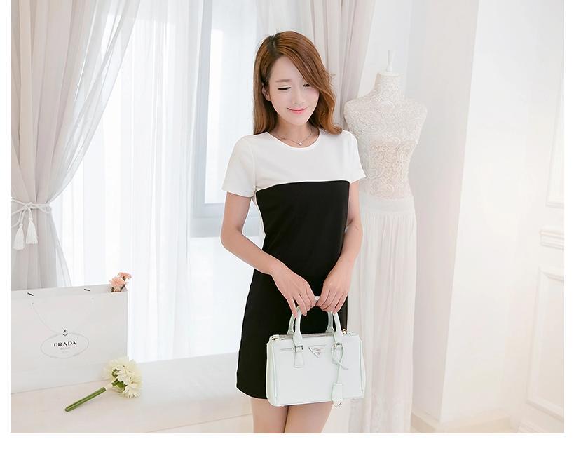 [พรีออเดอร์] ชุดเดรสผู้หญิงแฟชั่นเกาหลีใหม่ แขนสั้น เรียบหรู - [ Preorder] New Korean Fashion Slim Short-sleeved Dress
