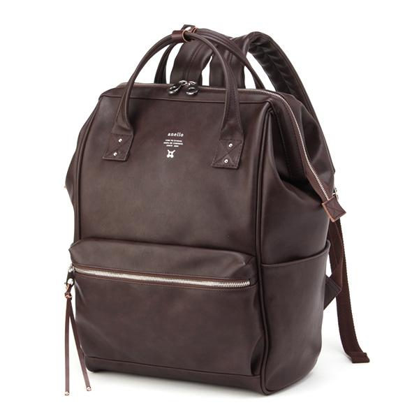 กระเป๋าเป้ Anello Premium Leather Dark Brown (Standard)