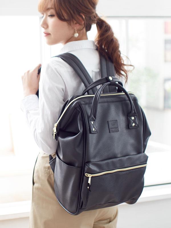 กระเป๋าเป้ Anello Leather Black (Standard) หนัง PU กันน้ำ