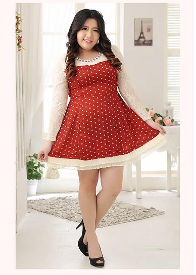 [พรีออเดอร์] เสื้อแฟชั่นเกาหลี เสื้อ กระโปรงลายจุด แขนและคอเสื้อ ประดับด้วยลูกไม้สวย หวาน สำหรับสาวอวบ - [Preorder] Korean Fashion Large Size Dress Polka Dot in Beautiful and Chic Style, Romantic Lace Trim
