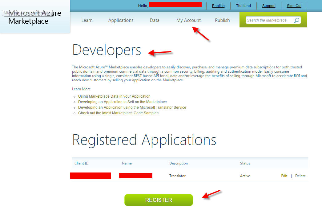 Sign up Microsoft Translator client id