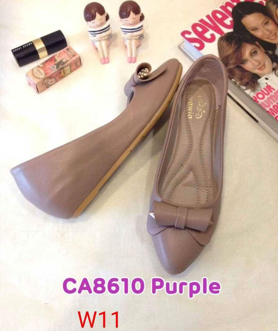 รองเท้าคัทชู ส้นเตารีด แต่งโบว์สวยน่ารัก หนังนิ่ม ทรงสวย ใส่สบาย ส้นสูงประมาณ 2 นิ้ว แมทสวยได้ทุกชุด (CA8610)
