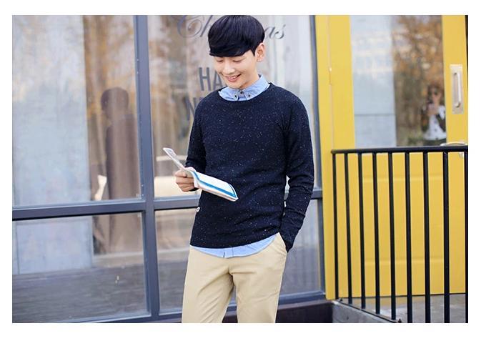 พรีออเดอร์ เสื้อกันหนาวแฟชั่นเกาหลีสไตล์ สำหรับผู้ชาย แขนยาว เก๋ เท่ห์ - Preorder Men Korean Hitz Style Slim Long-sleeved Sweater