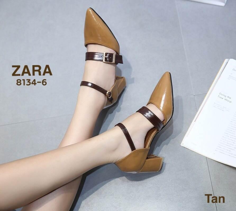 รองเท้าคัทชู ส้นเตี้ย รัดส้น แต่งเข็มขัดสวยเก๋ ทรงสวย หนังนิ่ม ใส่สบาย ส้นสูงประมาณ 2.5 นิ้ว แมทสวยได้ทุกชุด (8134-6)