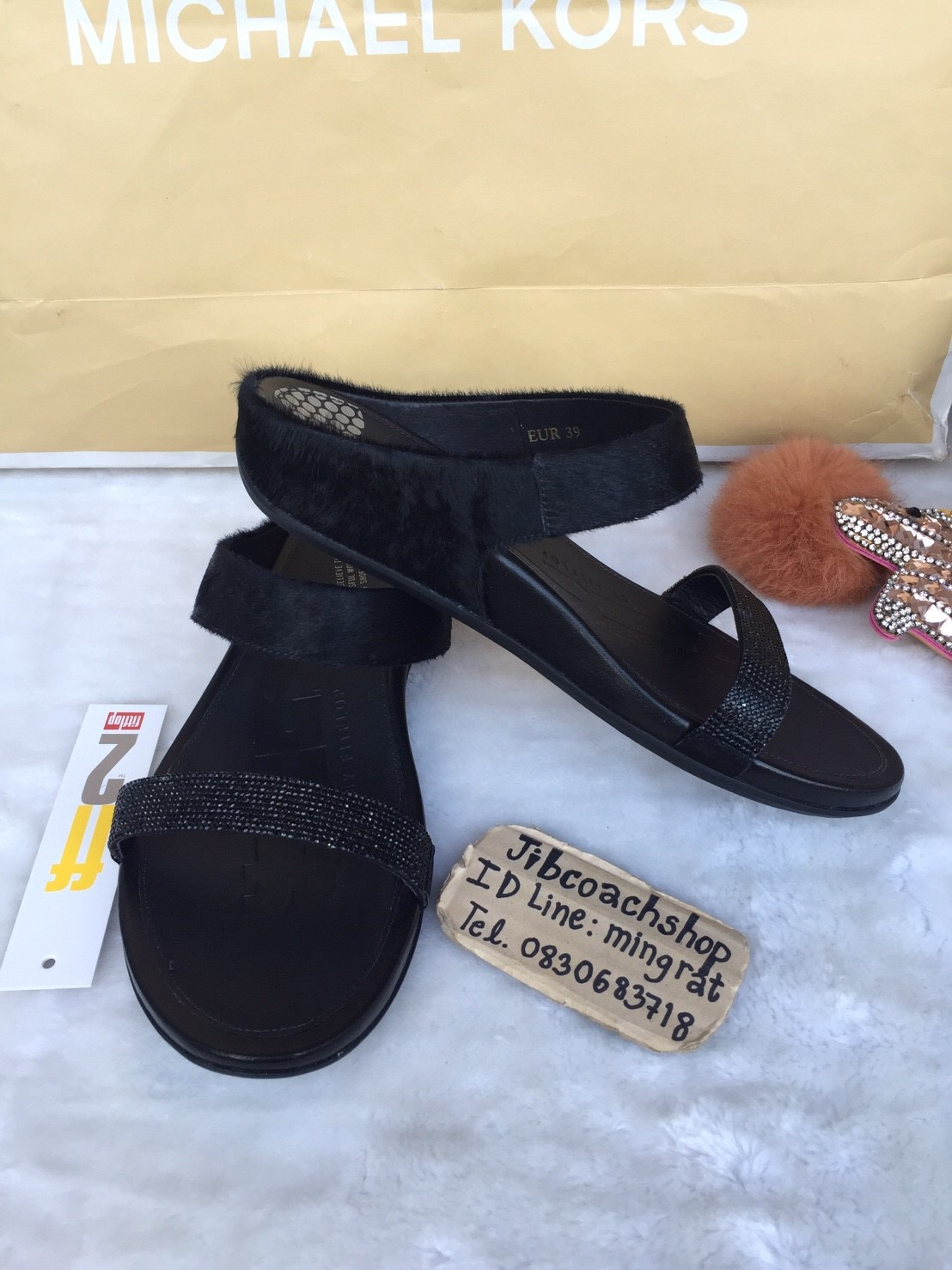 0149e9d3ca9a Fitflop BANDA™ MICRO-CRYSTAL LUX LEATHER SLIDES Black - jibcoachshop ...