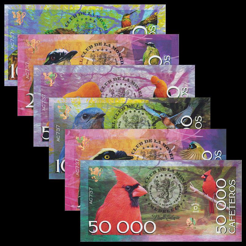 ธนบัตรโคลัมเบีย Colombia Medellin Set 6 : 1000 2000 5000 10000-50000 Dracones, 2016, Bird, UNC