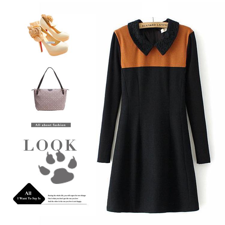 **พรีออเดอร์** ชุดเดรสผู้หญิงแฟชั่นยุโรปใหม่ ผ้า wool แขนยาว คอปกลูกไม้ แบบเก๋ เท่ห์ / **Preorder** New European Fashion Woolen Knit Lace Stitching Long-Sleeved Dress
