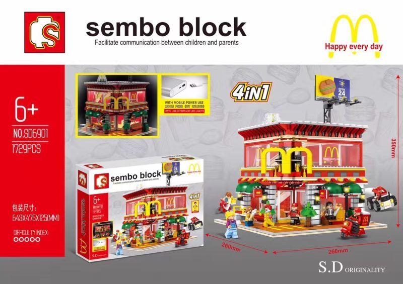 เลโก้จีน Sembo Block SD6901 ชุด Mcdonalds 4in1 มีไฟ