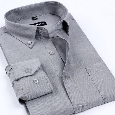พรีออเดอร์ เสื้อเชิ้ตทำงานแขนยาว สีดำเทา อก 49.60 นิ้ว แฟชั่นเกาหลีสำหรับผู้ชายไซส์ใหญ่