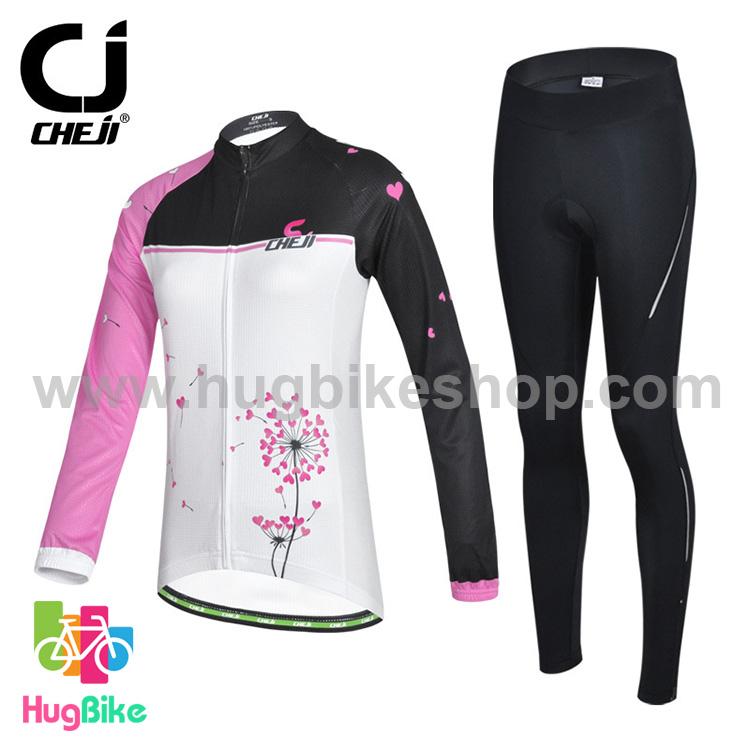 ชุดจักรยานผู้หญิงแขนยาวขายาว CheJi 14 (09) สีขาวดำชมพู สั่งจอง (Pre-order)