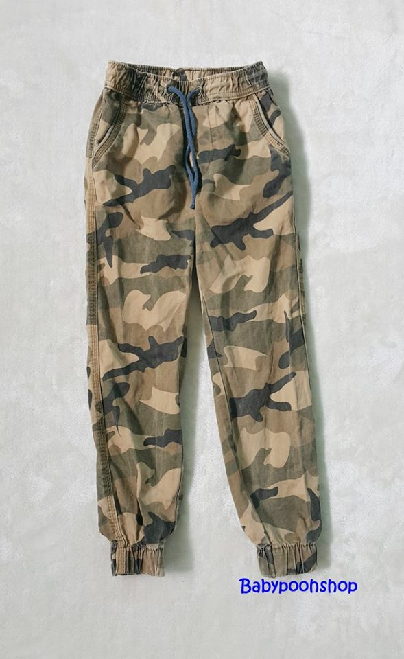 Polo : กางเกงขายาว เอวยืด สีน้ำตาลลายพราง