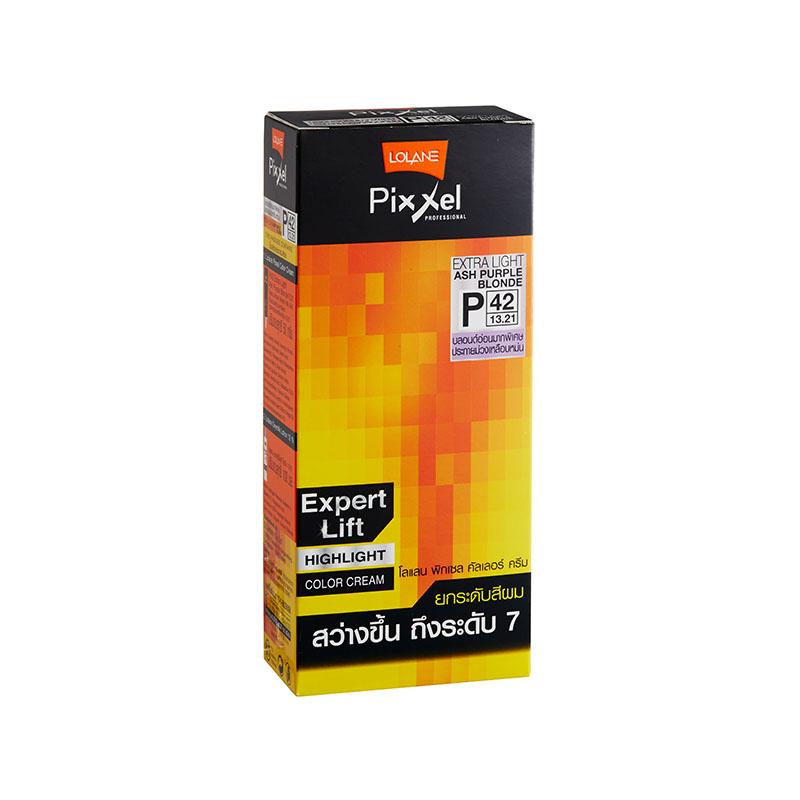 โลแลน พิกเซล คัลเลอร์ครีม P42 บลอนด์อ่อนมากพิเศษประกายม่วงเหลือบหม่น (Extra Light Ash Purple Blonde) ยกระดับสีผม สว่างขึ้น ถึงระดับ 7