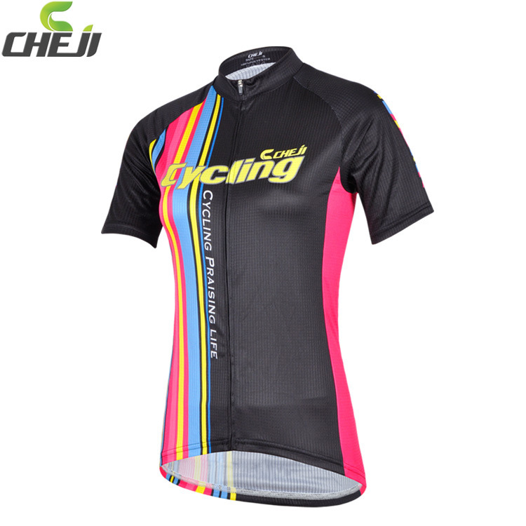 เสื้อจักรยานผู้หญิงแขนสั้น CheJi สีดำลายขีดชมพูฟ้าเหลือง สั่งจอง (Pre-order)