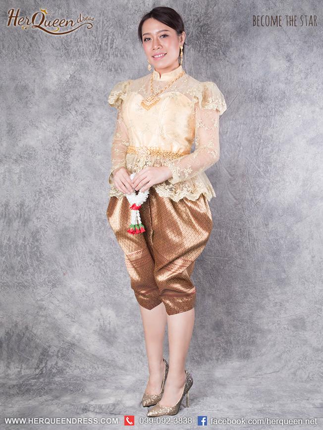 เช่าชุดไทย &#x2665 ชุดไทย ร.5 ลูกไม้ปัก สีทอง โจงกระเบน