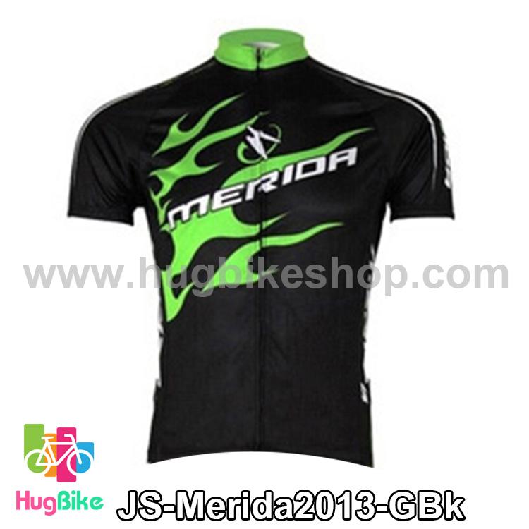 เสื้อจักรยานแขนสั้นทีม Merida 2013 สีดำเขียวเพลิงด้านข้าง สั่งจอง (Pre-order)