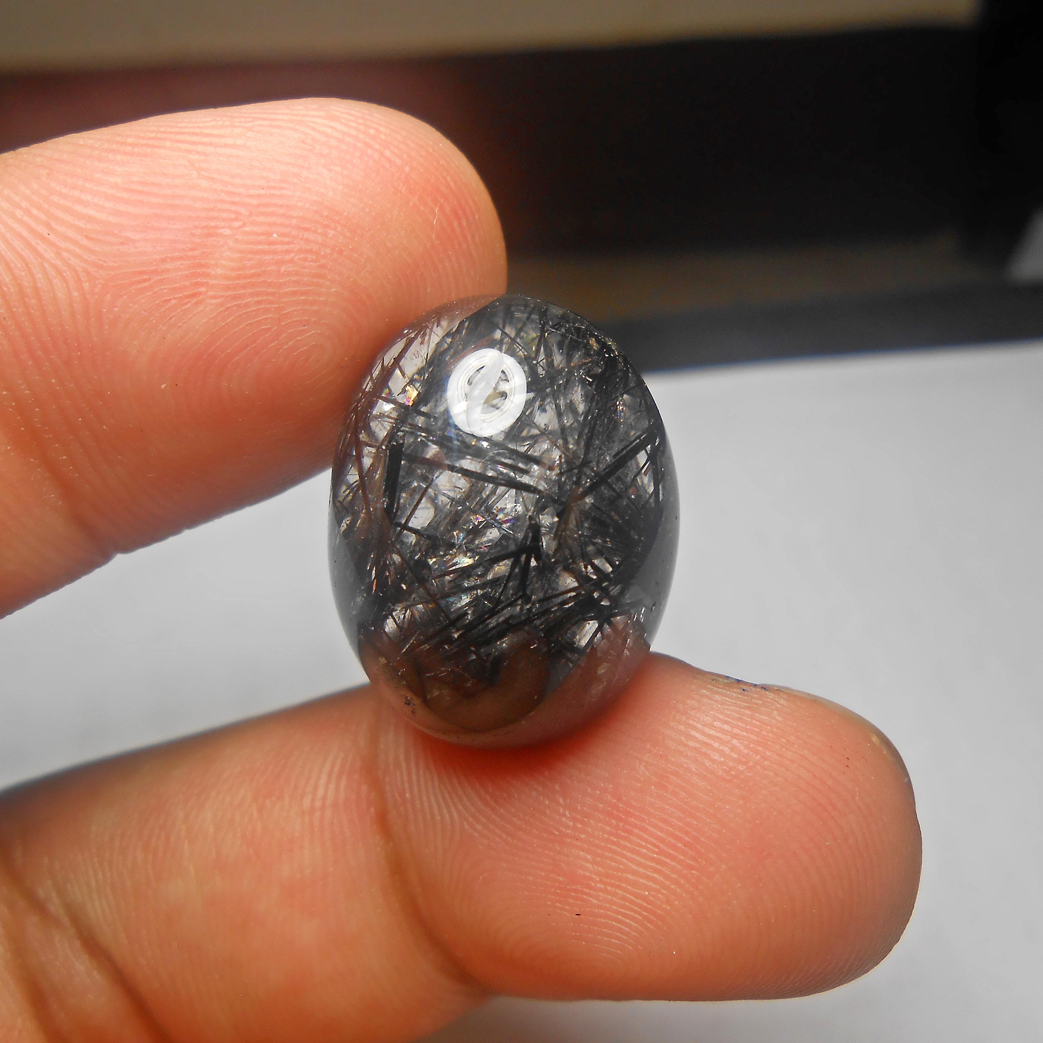 แก้วขนเหล็กเหลือบรุ้ง น้ำงาม เส้นคมแกร่ง ขนาด 2.2x1.6cm ทำหัวแหวน จี้ งามๆ