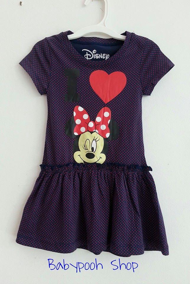 Disney : เดรส มินนี่ ลายน่ารัก สีม่วงลายจุดแดง size : 1-2y