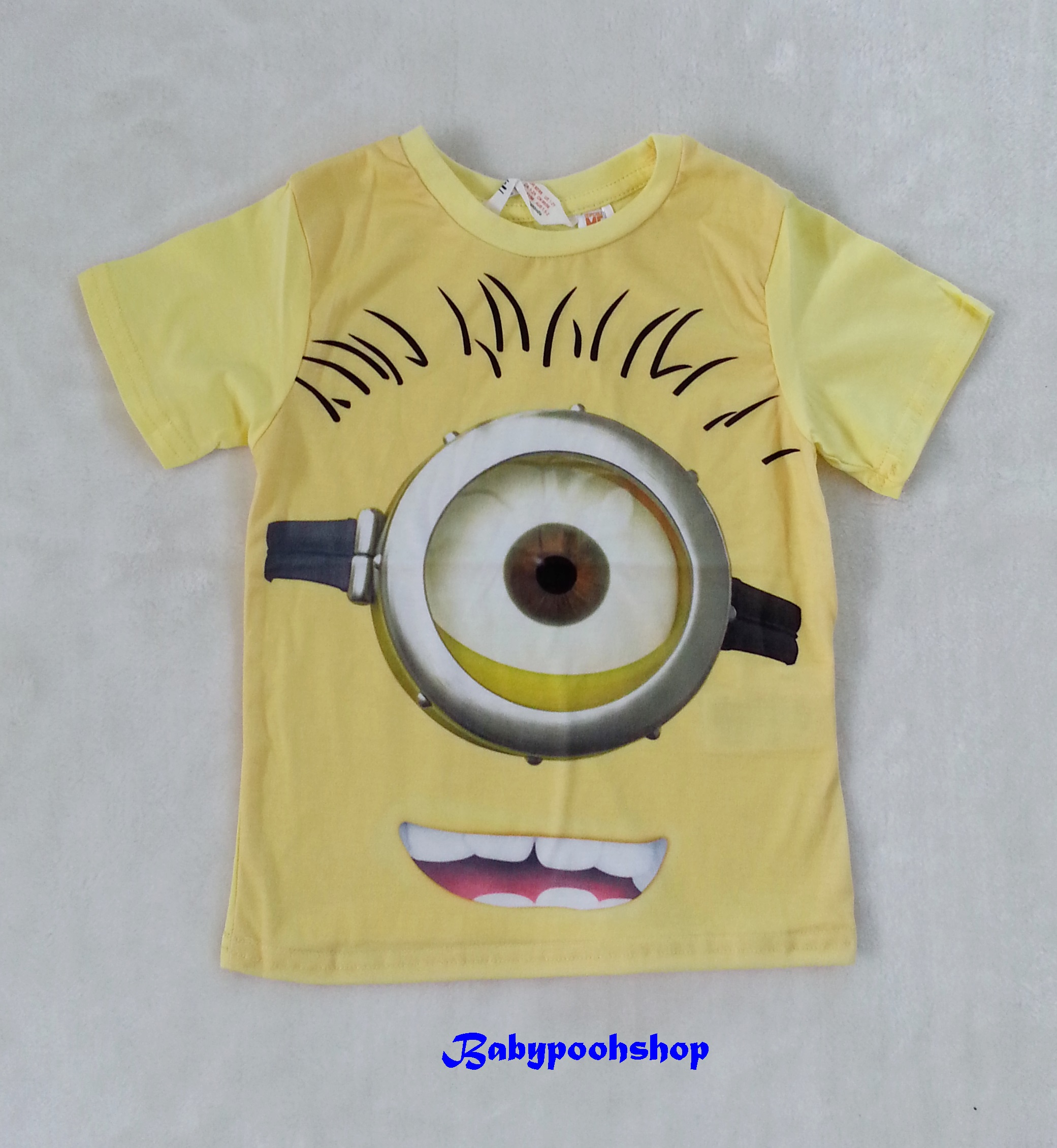 H&M : เสื้อยืด สีเหลือง สกรีนลายมินเนียน size : 1.5-2y /4-6y / 6-8y / 8-10y / 12-14y