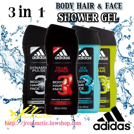 adidas Body Hair Face Shower Gel 3 in 1 เจลอาบน้ำ สระผม และล้างหน้า 250 ml.