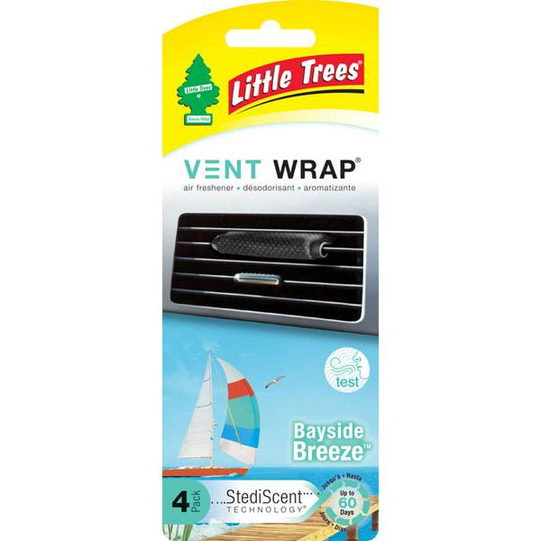 Little Trees Vent Wrap น้ำหอมปรับอากาศ กลิ่น Bayside Breeze (4 ชิ้น)