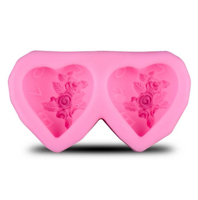 พิมพ์ขนม 3D หัวใจคู่ Love B198