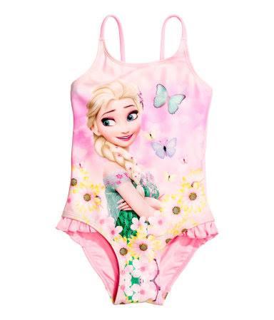 H&M : ชุดว่ายน้ำ ลายเจ้าหญิงเอลซ่าสีชมพู size : 2-4y