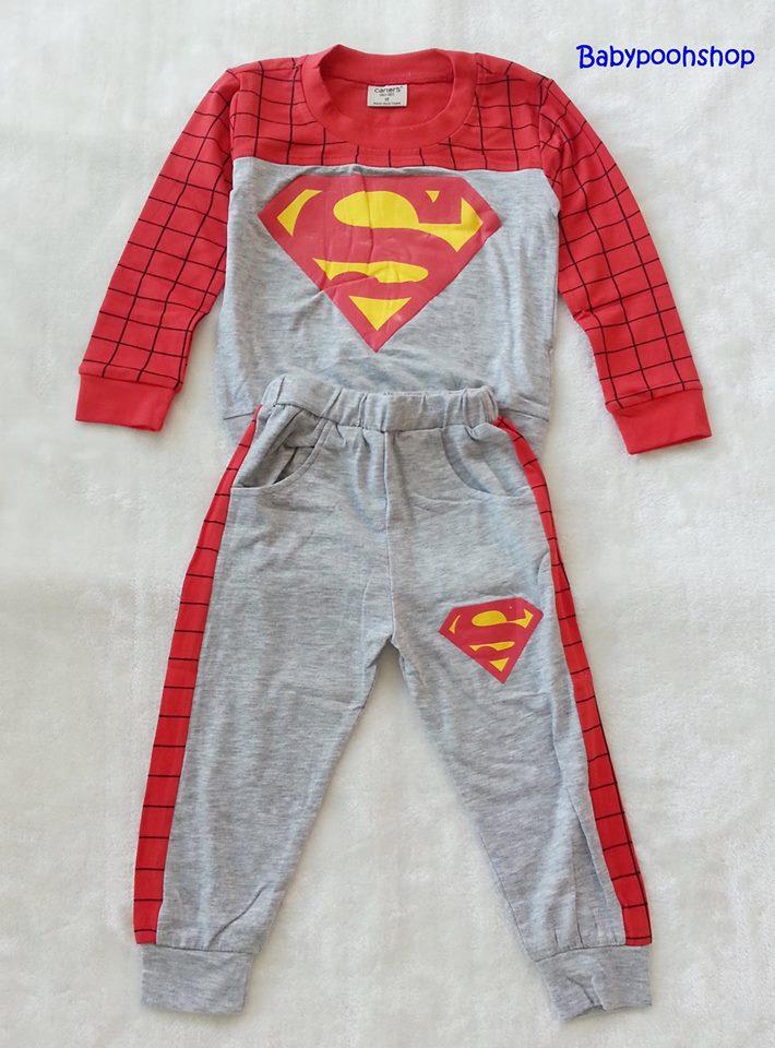 Carter's : Set เสื้อแขนยาว+กางเกงขายาว ลาย Superman สีแดง เนื้อผ้า นิ่ม ไม่หนามาก Size : 1y / 4y / 5y / 8y
