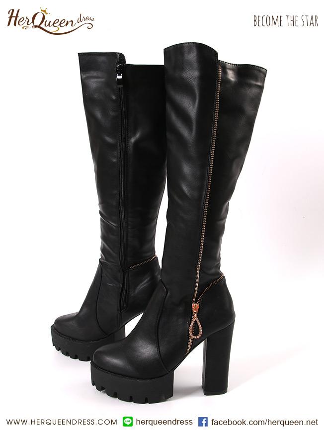 เช่ารองเท้า &#x2665 รองเท้าบู๊ทหนังสีดำ แต่งซิบทอง ส้นหนา