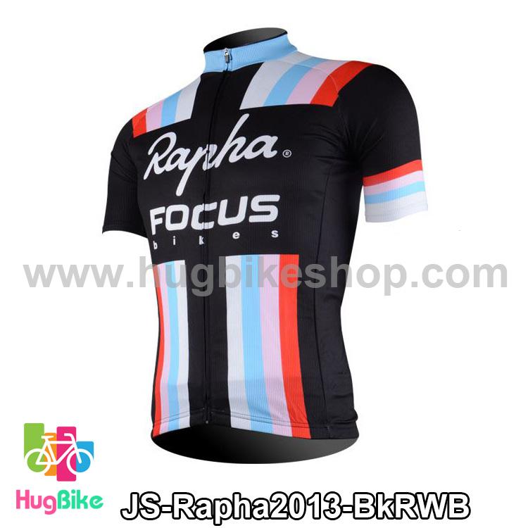 เสื้อจักรยานแขนสั้นทีม Rapha 13 (01) สีดำแดงขาวฟ้า สั่งจอง (Pre-order)