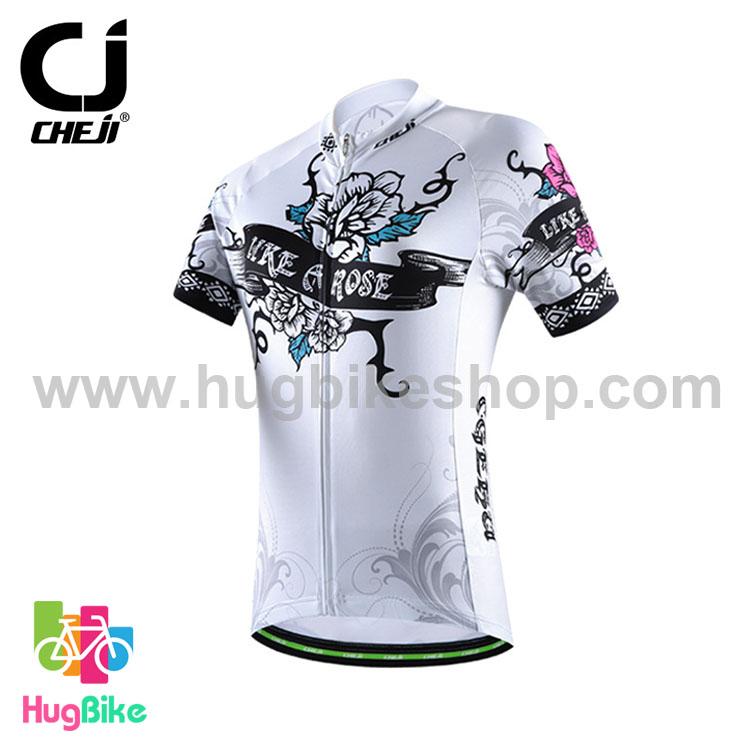 เสื้อจักรยานผู้หญิงแขนสั้น CheJi 16 (08) สีขาว ลายดอกกุหลาบ Like a rose