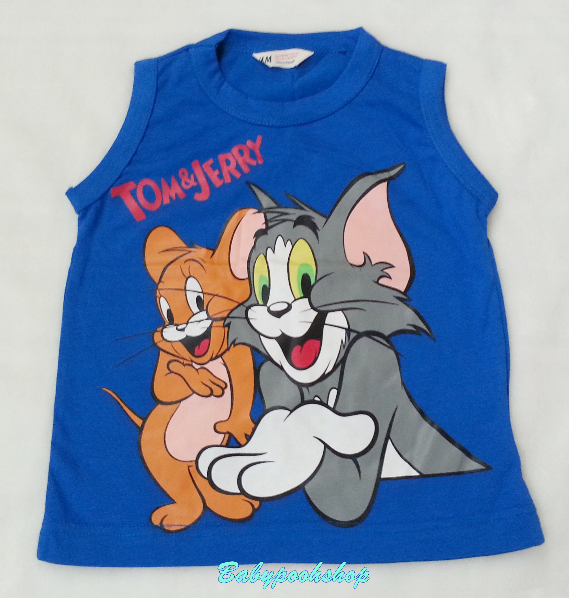 H&M : เสื้อกล้าม Tom&Jerry สีน้ำเงิน size : 6-8y