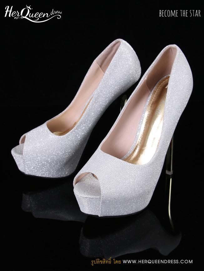 เช่ารองเท้า &#x2665 รองเท้าส้นสูง 5 นิ้ว สีเงินมีกลิตเตอร์เล็กๆ